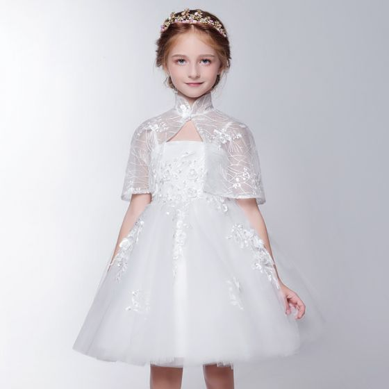 190cc6313 2 Piezas Lglesia Vestidos para bodas 2017 Vestidos para niñas Blanco Cortos  Ball Gown Volantes En ...