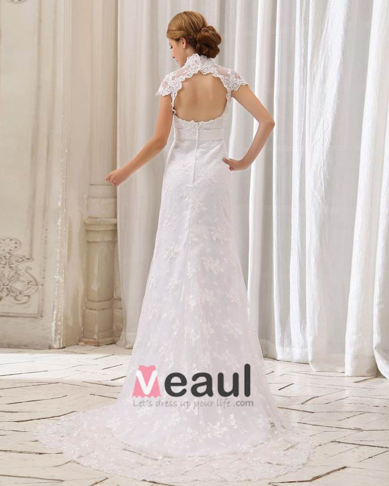 Beautiful Mandarin Collar Chapel Train Lace Sheath Wedding Dress