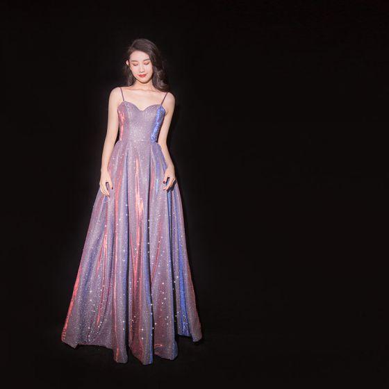 Uroczy Fioletowe Gwiaździste Niebo Sukienki Wieczorowe 2019 Princessa Spaghetti Pasy Cekinami Poliester Bez Rękawów Bez Pleców Długie Sukienki Wizytowe
