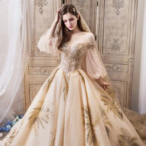 Luxury / Gorgeous Champagne Wedding Dresses 2019 Ball Gown Off-The-Shoulder Puffy 3/4 Sleeve Backless Beading Glitter Tulle Royal Train Ruffle