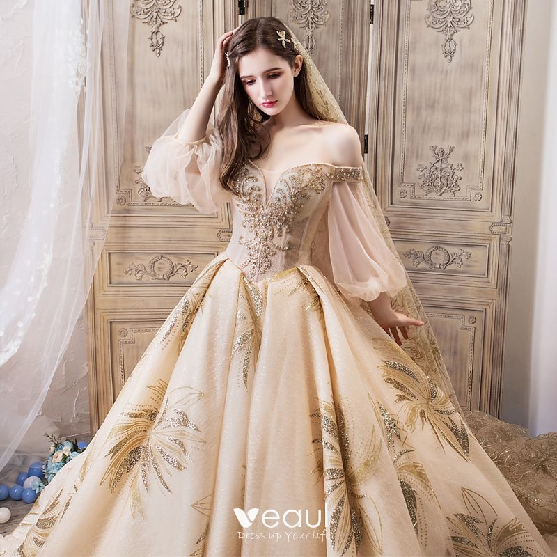 Luxury / Gorgeous Champagne Wedding Dresses 2019 Ball Gown