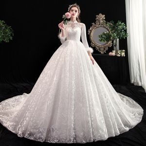 Vintage / Retro Chinese style Ivory Wedding Dresses 2020 A-Line / Princess High Neck Lace Flower Star Sequins 3/4 Sleeve Backless Cathedral Train