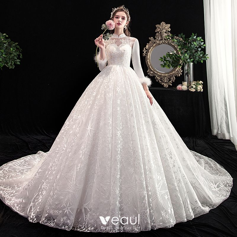 Vintage / Retro Chinese style Ivory Wedding Dresses 2020 A,Line / Princess  High Neck Lace Flower Star Sequins 3/4 Sleeve Backless Cathedral Train