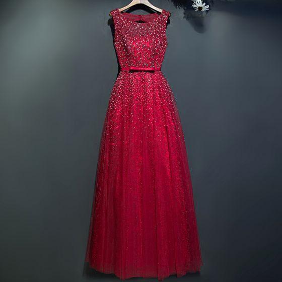 Błyszczące Czerwone Sukienki Wieczorowe 2017 Koronkowe Kwiat Cekiny Wycięciem Bez Rękawów Długość Kostki Imperium Sukienki Wizytowe