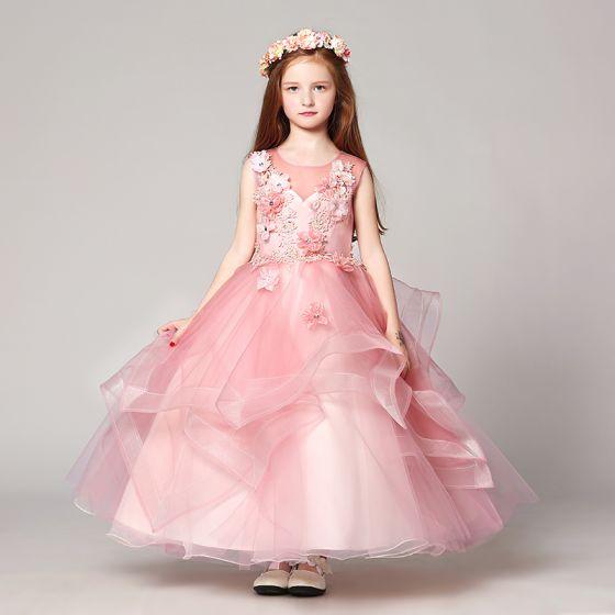 Piękne Rumieniąc Różowy Sukienki Dla Dziewczynek 2017 Suknia Balowa Wycięciem Bez Rękawów Z Koronki Aplikacje Kwiat Perła Rhinestone Długie Kaskadowe Falbany Przebili Sukienki Na Wesele
