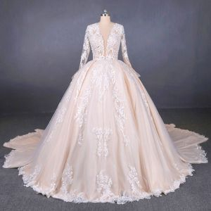 Illusion Champagne See-through Bridal Wedding Dresses 2020 Ball Gown Deep V-Neck Long Sleeve Backless Appliques Lace Beading Cathedral Train Ruffle