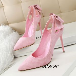 Lovely Candy Pink Dating Pumps 2020 Suede Bow 10 cm Stiletto Heels Pointed Toe Pumps