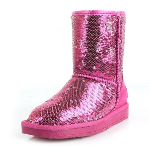 Women's Sparkly Fuchsia Sequins Mid-calf Winter Snow Boots