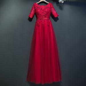 Hermoso Rojo Vestidos Formales 2017 Con Encaje Flor De Tiras Scoop Escote 1/2 Ærmer La altura del tobillo Empire Vestidos de noche