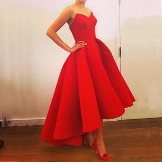 High Low Red Maxi Dresses 2018 A-Line / Princess Sweetheart Sleeveless Asymmetrical Ruffle Backless Womens Clothing