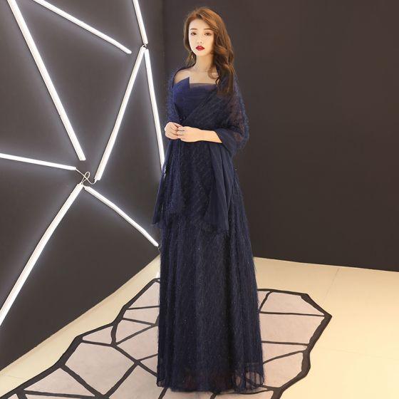 Piękne Granatowe Sukienki Na Wesele Dla Mamy Z Szalem 2019 Princessa Bez Ramiączek Kryształ Z Koronki Kwiat Kutas Bez Rękawów Bez Pleców Długie