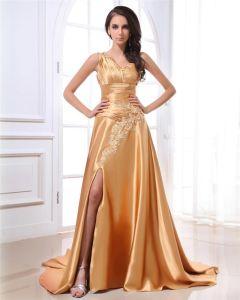 Elegante Une Epaule Perlage Ruche De Charmeuse Robes De Soirée