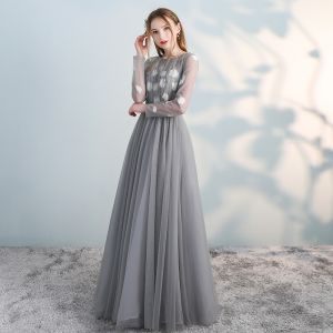 Chic / Beautiful Grey Prom Dresses 2018 Empire Appliques Scoop Neck Long Sleeve Ankle Length Formal Dresses