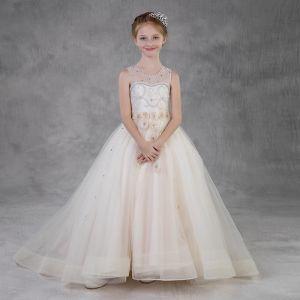 Eleganckie Szampan Urodziny Sukienki Dla Dziewczynek 2020 Suknia Balowa Przezroczyste Wycięciem Bez Rękawów Bez Pleców Aplikacje Kwiat Rhinestone Frezowanie Perła Trenem Sweep Wzburzyć