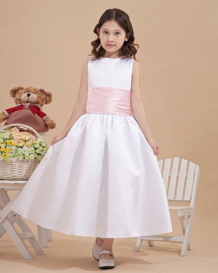 Satin Back Bowknot Decoration Flower Girl Dresses