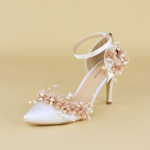 Classy White Wedding Shoes 2020 Pearl Flower Ankle Strap 8 cm Stiletto Heels Pointed Toe Wedding Heels