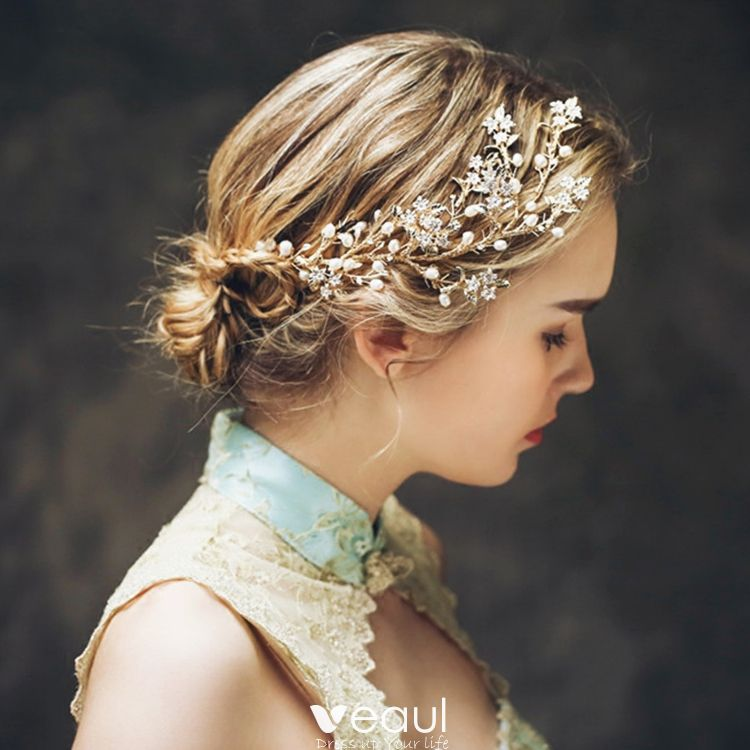 Elegant Gold Bridal Hair Accessories 2017 Metal Pearl Headpieces