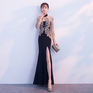 Chinese style Black Gold See-through Evening Dresses  2018 Trumpet / Mermaid High Neck Long Sleeve Appliques Lace Split Front Floor-Length / Long Formal Dresses