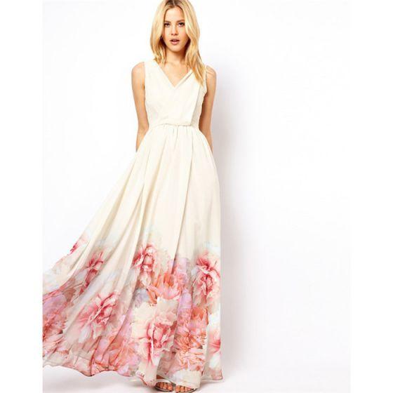 Bohemia White Casual Maxi Dresses 2018 A-Line / Princess Pleated Printing V-Neck Sleeveless Floor-Length / Long Women's Clothing