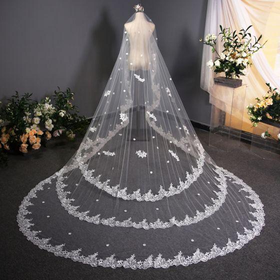 Luksusowe Białe Wykonany Ręcznie Koronki 3D Welony Ślubne Haftowane Trenem Kaplica Szyfon Koronkowe Ślub Akcesoria 2019