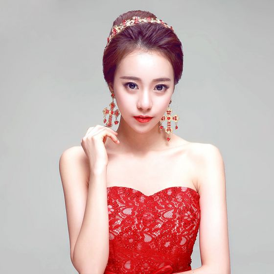 Rode Chinese Stijl Bruidssieraden Tiara / Oorbellen