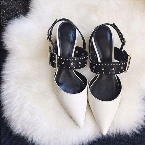 Mooie / Prachtige Witte Straatkleding Sandalen Dames 2020 Klinknagel 6 cm Dikke Hak Spitse Neus Sandalen