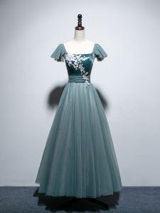 Piękne Jade Zielony Sukienki Wieczorowe 2019 Princessa Kwadratowy Dekolt Frezowanie Cekiny Z Koronki Kwiat Kótkie Rękawy Bez Pleców Długie Sukienki Wizytowe