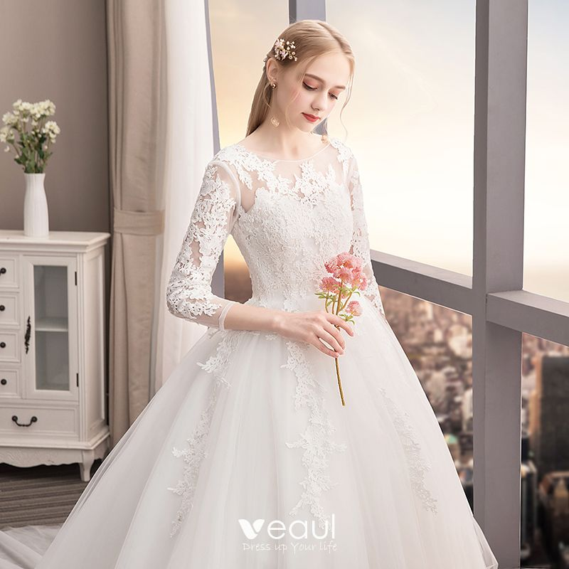 Chic / Beautiful Ivory Wedding Dresses 2019 A-Line / Princess Scoop Neck Lace Flower 3/4 Sleeve Backless Cathedral Train