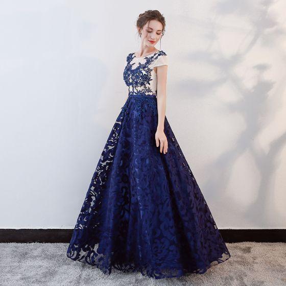 Chic / Beautiful Royal Blue Prom Dresses 2018 A-Line / Princess ...