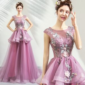 Chic / Beautiful Purple Prom Dresses 2019 A-Line / Princess Scoop Neck Appliques Lace Rhinestone Sleeveless Court Train Formal Dresses