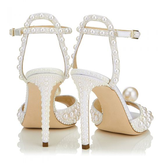 Charming Ivory Pearl Wedding Sandals 2020 Leather Ankle Strap 10 cm Stiletto Heels Open / Peep Toe Wedding Shoes