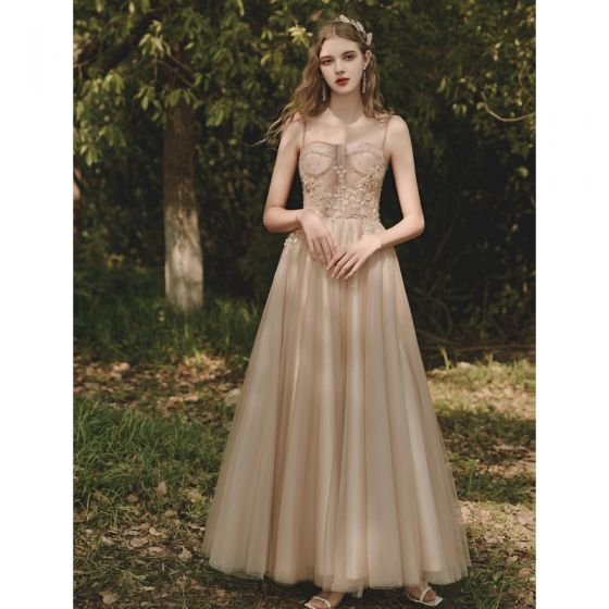 Chic / Beautiful Champagne Prom Dresses 2021 A-Line / Princess Spaghetti Straps Lace Flower Sleeveless Backless Floor-Length / Long Formal Dresses