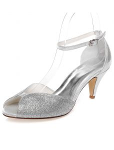 Sparkly Wedding Sandals Peep Toe Silver Glitter Wedding Shoes Stiletto Heels With Ankle Strap