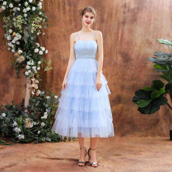 Chic / Beautiful Sky Blue Homecoming Graduation Dresses 2020 A-Line / Princess Spaghetti Straps Sleeveless Beading Spotted Tulle Tea-length Cascading Ruffles Backless Formal Dresses
