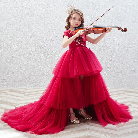 Elegant Red See-through Birthday Flower Girl Dresses 2020 Ball Gown Scoop Neck Short Sleeve Appliques Flower Sequins Cascading Ruffles Court Train