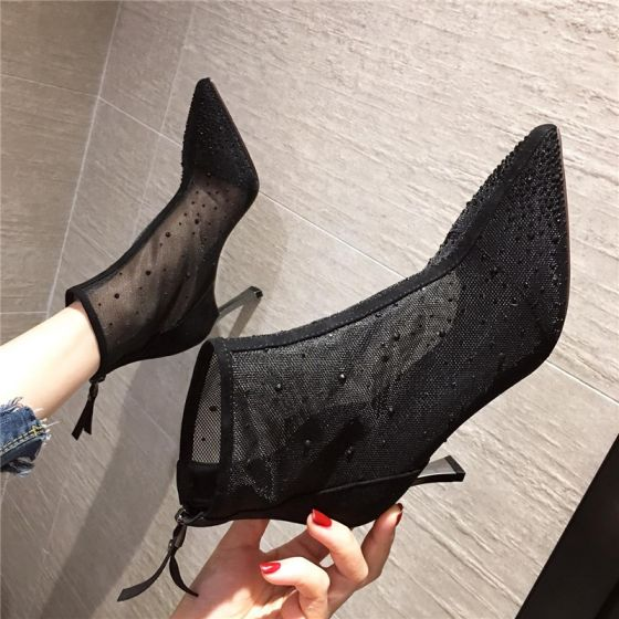 Sexy Black Street Wear See-through Womens Boots 2020 Ankle 8 cm Stiletto Heels Pointed Toe Boots