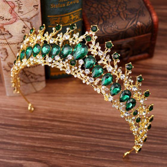 Chic / Beautiful Dark Green Rhinestone Tiara Bridal Hair Accessories 2020 Alloy Wedding Accessories