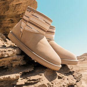 Traditionell Khaki Schneestiefel 2020 Woll Leder Ankle Boots Winter Flache Freizeit Runde Zeh Stiefel Damen