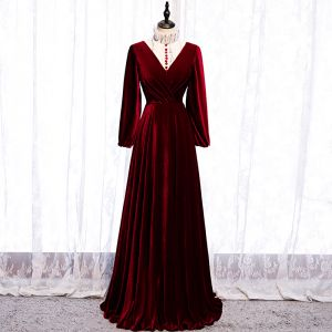 Elegant Burgundy Evening Dresses  2020 A-Line / Princess Suede High Neck Sequins Long Sleeve Floor-Length / Long Formal Dresses