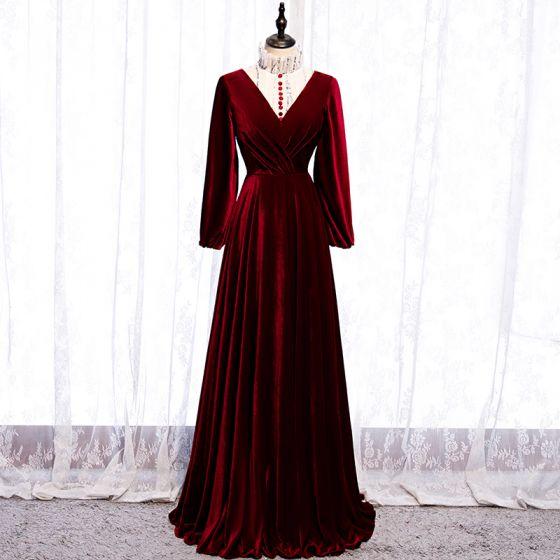 Elegant Burgundy Evening Dresses  2020 A-Line / Princess Suede High Neck Sequins Long Sleeve Floor-Length / Long Formal Dresses