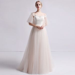 Modest / Simple Champagne See-through Wedding Dresses 2019 A-Line / Princess Scoop Neck Bell sleeves Backless Appliques Lace Pearl Sweep Train Ruffle