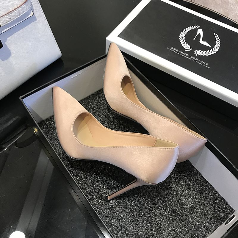 Chic / Beautiful Champagne Wedding Shoes 2019 Leather 10 cm Stiletto Heels Pointed Toe Wedding Pumps