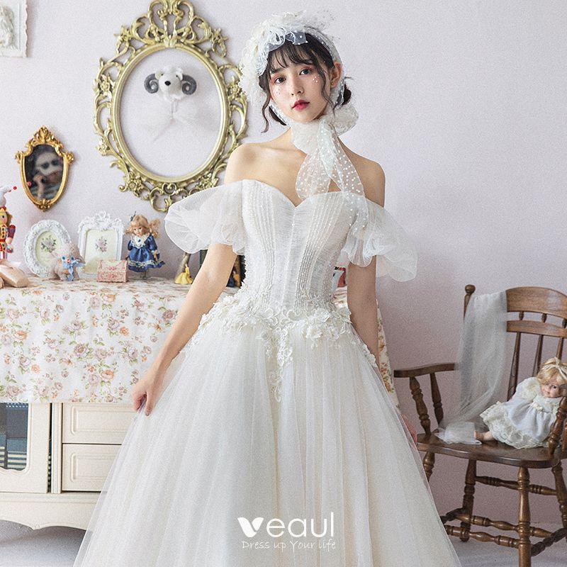 Ivory Wedding Dresses 2019 A-Line / Princess Off-The