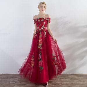 Erschwinglich Rot Abendkleider 2019 A Linie Off Shoulder Kurze Ärmel Applikationen Stickerei Lange Rüschen Rückenfreies Festliche Kleider
