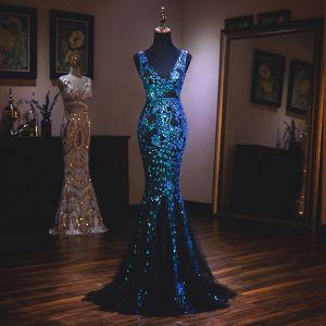 Uroczy Królewski Niebieski Sukienki Wieczorowe 2019 Syrena / Rozkloszowane V-Szyja Z Koronki Cekiny Bez Rękawów Bez Pleców Trenem Sweep Sukienki Wizytowe