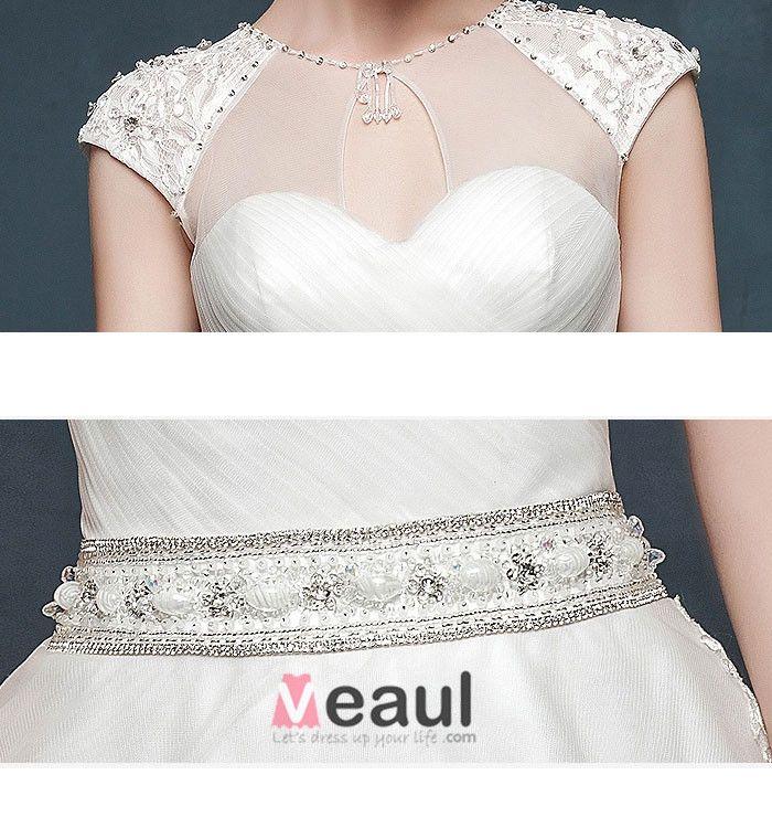 2015 Luxury Fishtail Slim Thin Double Shoulder V-neck Long Tail Wedding Dress