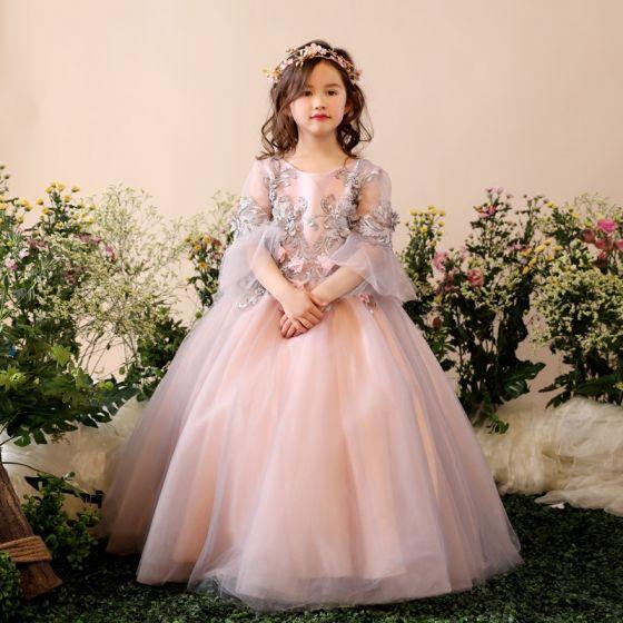 f4e74d419b Piękne Kościół Sukienki Na Wesele 2017 Sukienki Dla Dziewczynek Szary Suknia  Balowa Długie 3 4 Rękawy ...