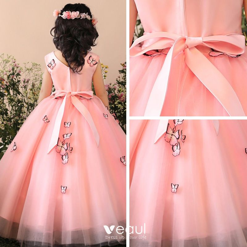 Chic / Beautiful Church Wedding Party Dresses 2017 Flower Girl Dresses Blushing Pink Ball Gown Tea-length V-Neck Sleeveless Flower Appliques