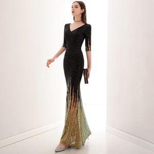 Charmant Schwarz Gold Abendkleider 2020 Meerjungfrau V-Ausschnitt Pailletten 1/2 Ärmel Lange Festliche Kleider