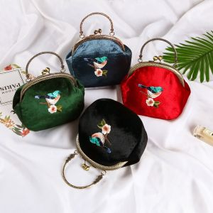 Chinese style Velour Embroidered Clutch Bags 2020